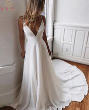 V Neck Elegant Long Beach Bridal Gowns White Ivory Princess Spaghetti Straps  Lace Up Chiffon Church Formal Wedding Dresses 2019