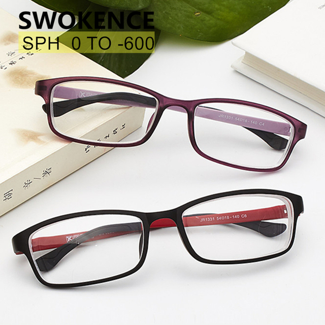 SWOKENCE Diopter -0.5 -1 -1.5 -2 -2.5 -3 -3.5 -4 -4.5 -5 -5.5 -6 Finished Myopia Glasses TR90 Frame Nearsighted Eyeglasses F168