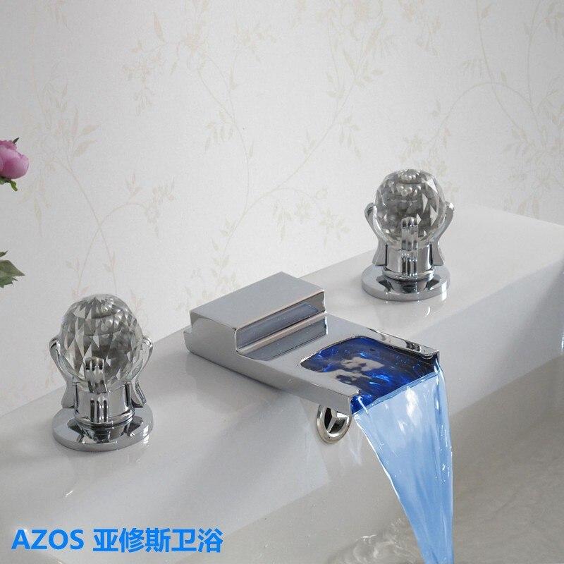 De luxe En Verre Poignée LED Chrome Cascade 3 Trous Carré Évier robinets D'eau Chaude et Froide Mitigeur Salle De Bains Bassin Robinet MPSK022