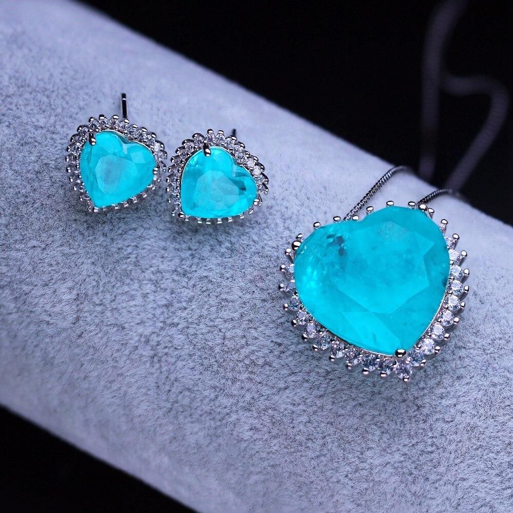היתוך אבן לב צורת תליון שרשרת ועגיל כלה סט מעוקב zirconia תכשיטים סט לנשים מתנה SFX0013002