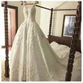 Clássico Spaghetti Strapless Apliques vestido de Baile Cetim Vestidos Capela Trem vestido de Casamento do Assoalho-Comprimento Longo Vestidos de Noiva