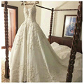Classic Spaghetti Straps Strapless Appliques Ball Gown Satin Wedding Dresses Chapel Train Floor-Length Long Bridal Gowns