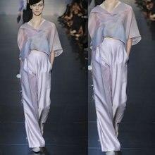 2016 new Summer Women's Sets Milan fashion big wave jacket + wide leg pants suit The pre-sale