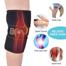 купить Heated Knee Brace Wrap Support Massager Injury Cramps Arthritis Recovery Hot Therapy Pain Relief Knee Rehabilitation Drop Ship онлайн