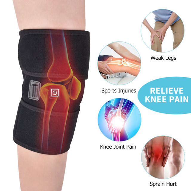 57751294b2 Heated Knee Brace Wrap Support Massager Injury Cramps Arthritis Recovery  Hot Therapy Pain Relief Knee Rehabilitation