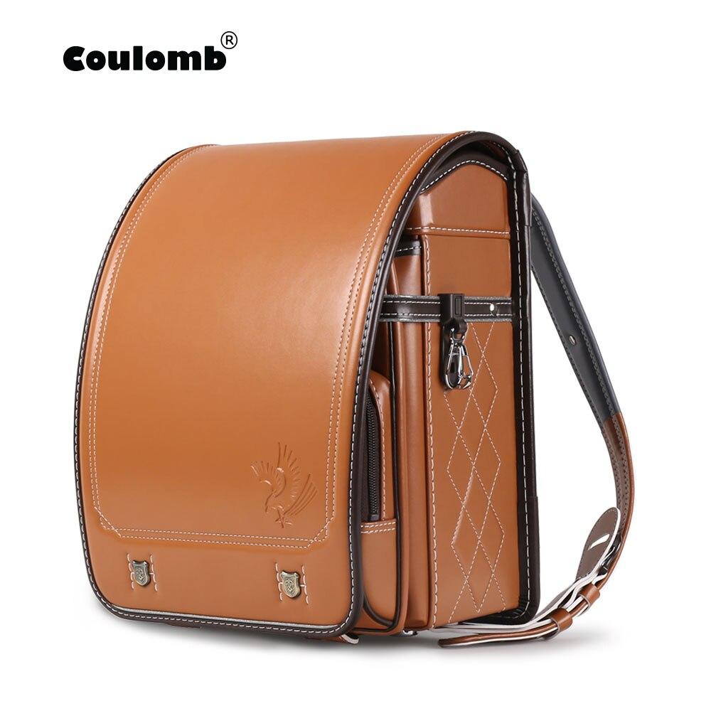 Coulomb Japanese Randoseru Children Backpack For Kids Bags PU Solid Eagle A4 Mochila Infantil Baby Orthopedic Japan School Bag