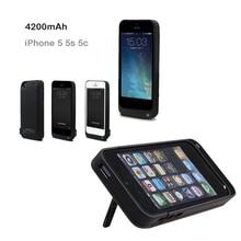 4200มิลลิแอมป์ชั่วโมงแบบชาร์จชาร์จปกแบตเตอรี่สำรองภายนอกชาร์จแพ็คกระเป๋าเป็นสำรองสำหรับiPhone 5 5วินาที5cสีดำ