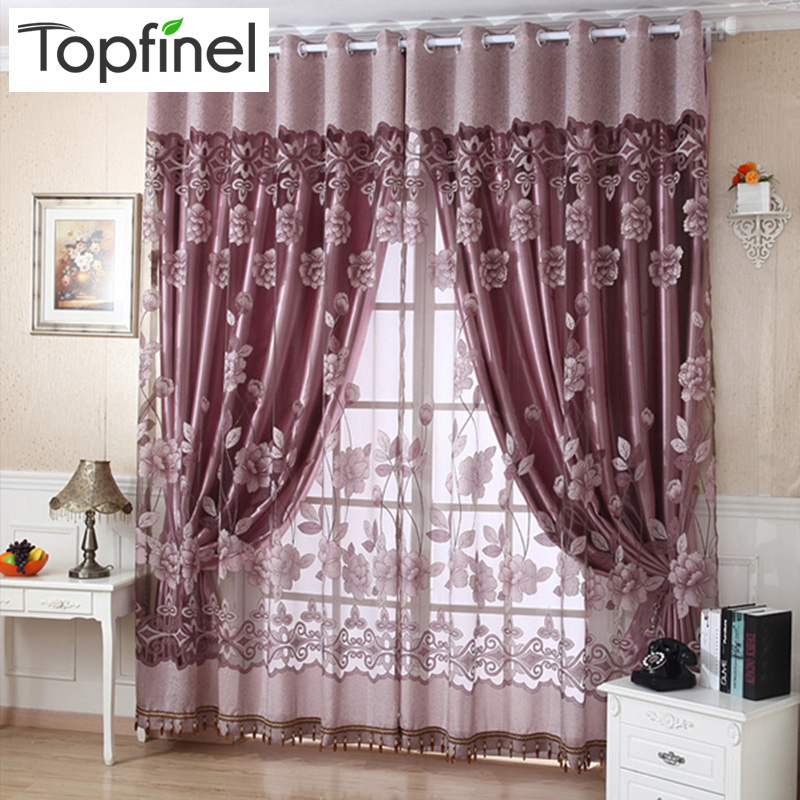 Topfinel Jacquard Sheer Curtains For Living Room Bedroom Kitchen Blinds Shade Tulle Luxury Window Treatments Drapes