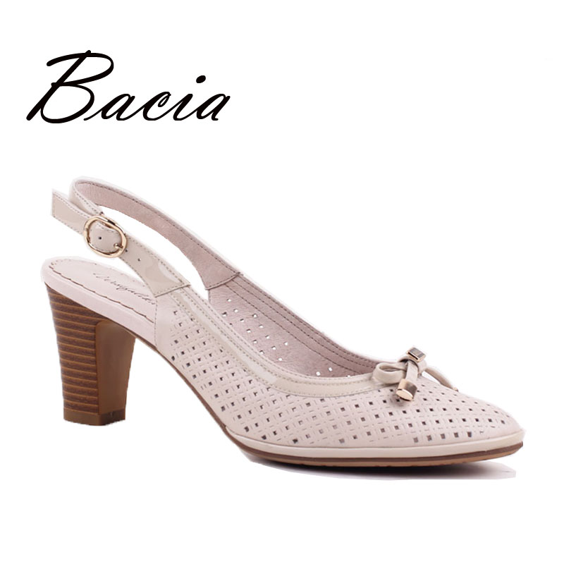 ФОТО Bacia Women Sandals Pumps Pink Summer Handmade High Quality Sheepskin Leather Shoes with Bow tie Square Heel Old Fashion VD011