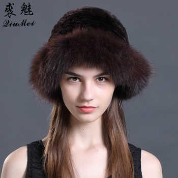 Real Rex Rabbit Fur Knitted Hat Luxury Natural Fox Fur Trim Hats Fur Bucket Hat Russian Female Solid Women\'s Winter Cap Ladies - DISCOUNT ITEM  32% OFF Apparel Accessories