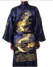 Бургундия шелковые вышивки дракон кимоно халат платье женщин сексуальный атлас халат с длинными ночной рубашке размер sml XL XXL XXXL BR040