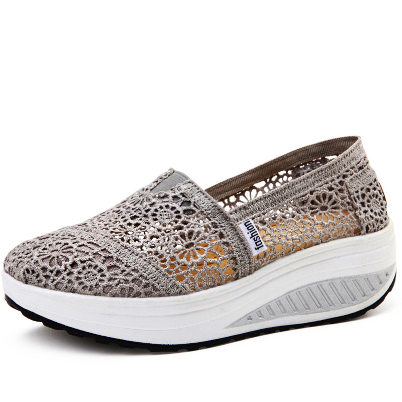 2016 Breathable Lace Women Shoes Multicolor Loafers Summer Wedges Lose Weight Creepers Platform Shoes For Women phyanic 2017 gladiator sandals gold silver shoes woman summer platform wedges glitters creepers casual women shoes phy3323