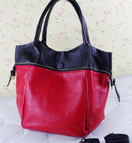 BIG SALES Fashion Soft Cowhide Women GENUINE LEATHER Designer High Quality Color Block composite shoulder bags