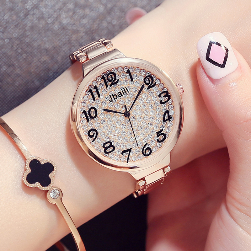 New Brand Jbaili Luxury Quartz Watch Women Fashion Rose Gold Rhinestone Dress Beautiful Wristwatch Beauty Lady With Gift Box lvpai fashion brand women watch rhinestone gold full steel quartz wristwatch girl lady women dress gift luxury fashion watches