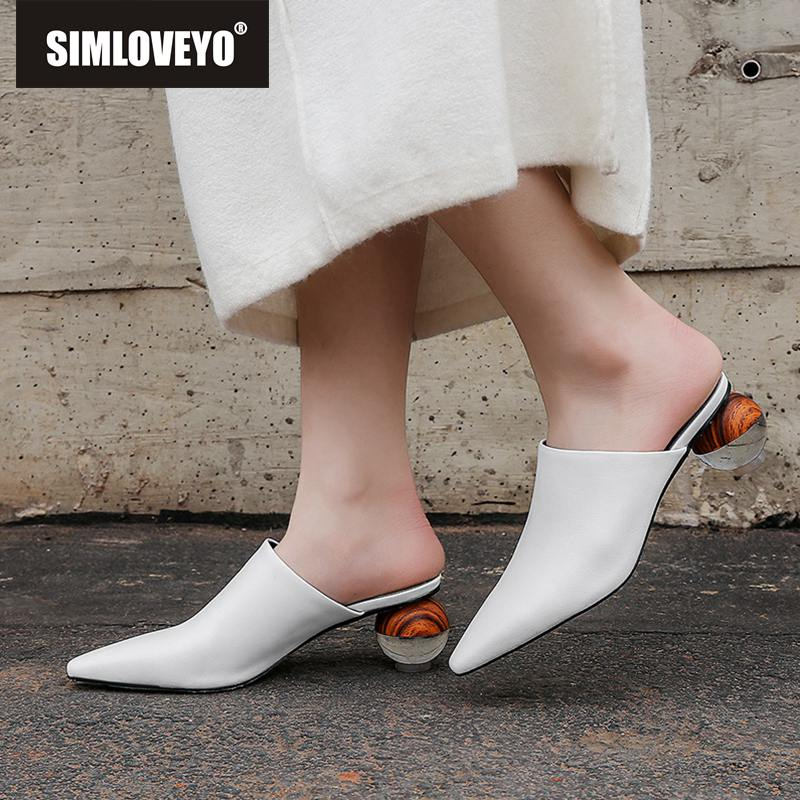 SIMLOVEYO women slippers real cow leather shoes woman pointed toe mules shoes strange heels sheepskin summer