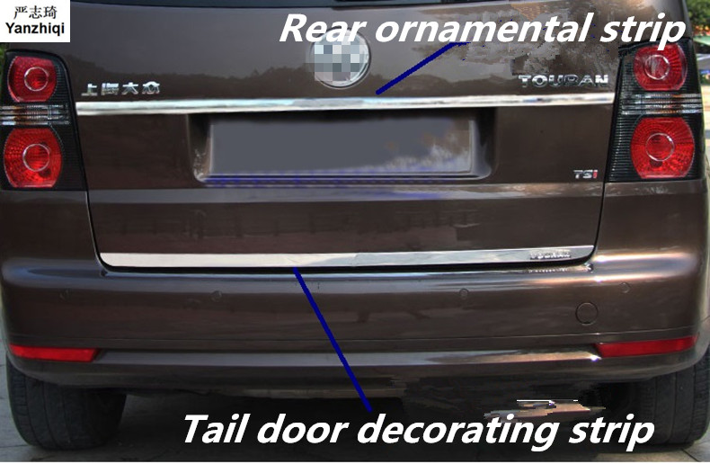 Stainless steel tail door Trunk decoration sequins Car stickers Accessories Car Styling for VW Volkswagen 2008-2015 Touran