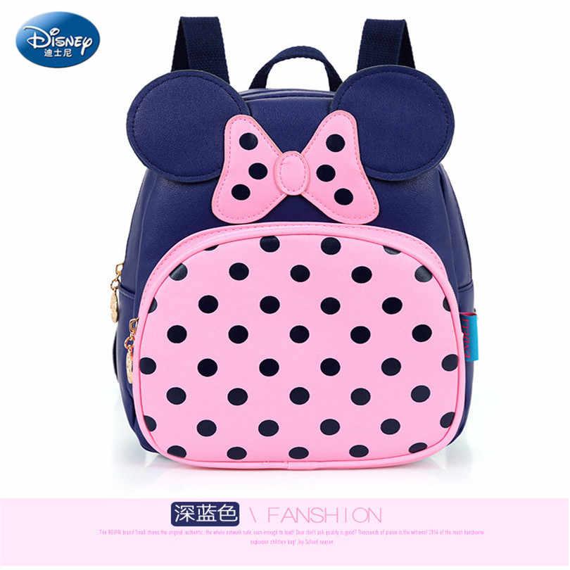Minnie de Disney Mickey mochila 2019 de moda impermeable de la PU mochila lazo azul cara chica Casual mochila para niños niñas