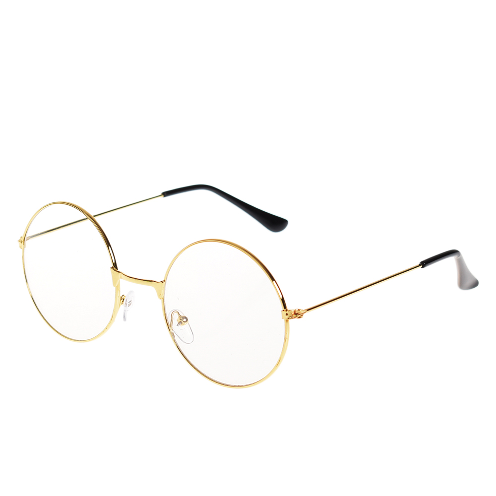 78a4e980f084 Fashion Oversized Round Circle Eye Glasses Vintage Retro Gold Eyeglasses  Metal Frame Clear Lens Glasses Nerd