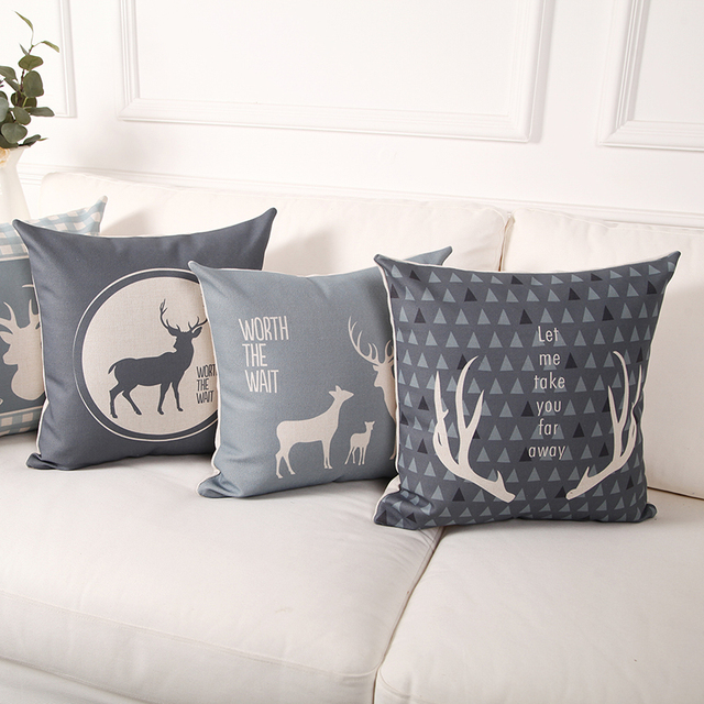 Custom Made Modern Simplicity Sofa Throw Pillows Scandinavian Style Cushion  For Sofas Deer Pattern Decorative Throw
