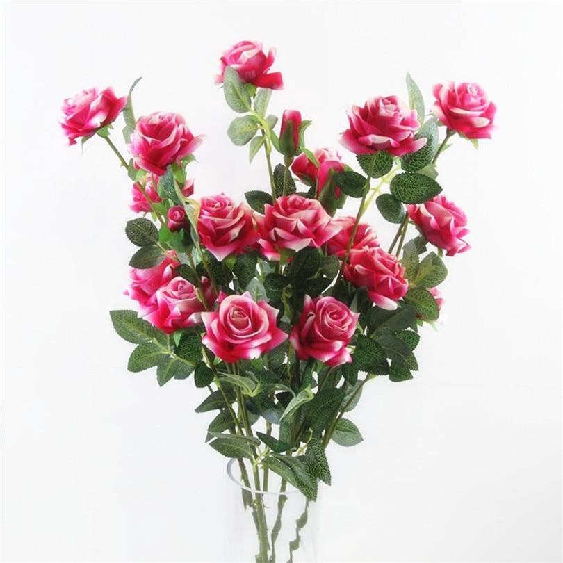 Купить с кэшбэком 5pcs Artificial Long stem Curling Rose 5 Heads velvet Roses Simulated Flowers Red/Pink/Cream/Burgundy Color Flowers
