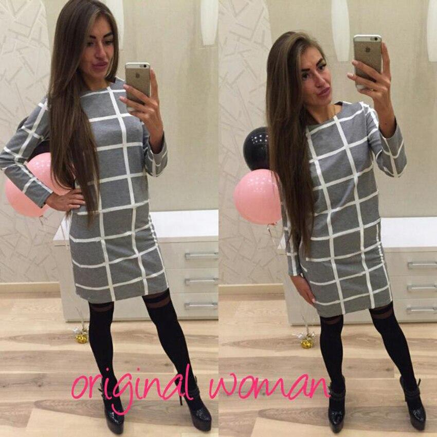 Пишет прибытие черный плед женщин платье напечатаны длинным рукавом платье офисные случайные женщины платье мини платье де Феста