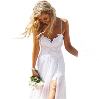 Sexy Beach Wedding Dress 2018 Vintage Boho Spaghetti Straps Lace Backless With Slit Bride Dress Bridal Gown Vestido De Noiva