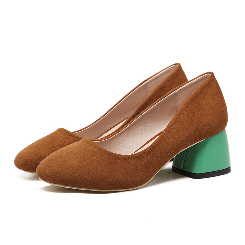 ФОТО NICE Ladies Shoes Low Pumps Black/Green Suede Square Toe Thick High Heels Fashion Elegant Office Shoes Women Pumps Ladies Shoes