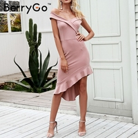 BerryGo 2018 Summer stretch black dress women Cross off shoulder slim short dress femme Asymmetric ruffles bodycon dress vestido