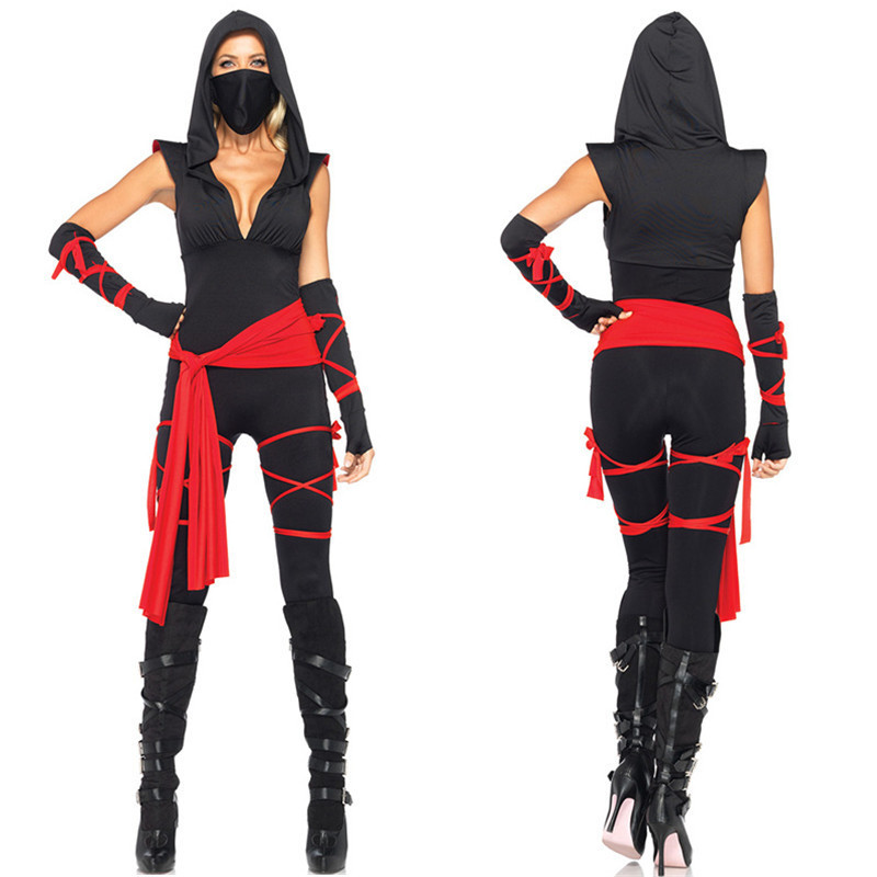 Sexy Women Girl Black Hooded Cosplay for Ninja Japanese Anime Halloween Costume for Adult Top + Capris + Belt + Riband + Mask