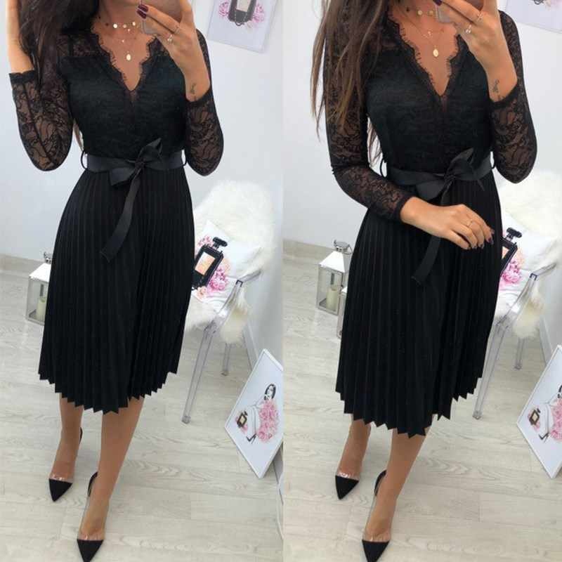 BEFORW Sexy VNeck Women Lace Dress Casual Party Pleated Chiffon Dresses 2019 Elegant Fresh Black Ribbon Hollow Chiffon Midi Dres