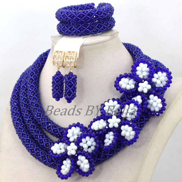 Großhandel Königsblau Kristall Handmade Nigerianische Mode Perlen Blumen Afrikanischen Schmuck Sets Halskette Kostenloser Versand ABK502 - 5