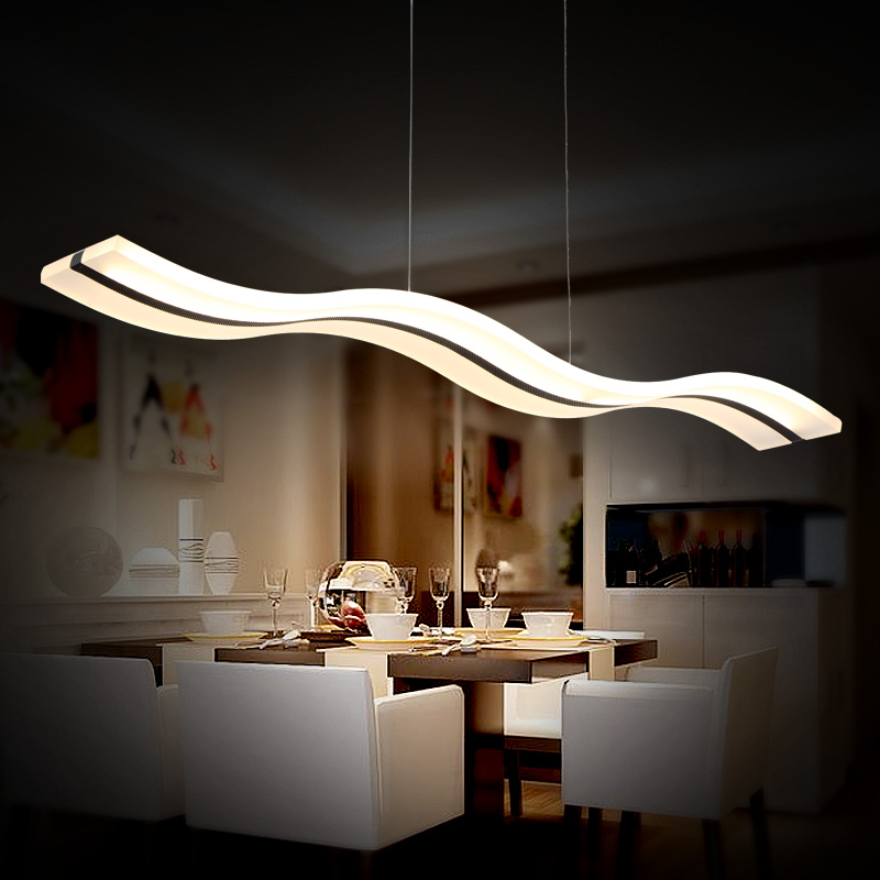 Creative modern led restaurant dining room office chandelier bar personality simple atmospheric line acrylic lamp led fashion simple living room chandelier dining chandelier bar chandelier lamp acrylic creative personality