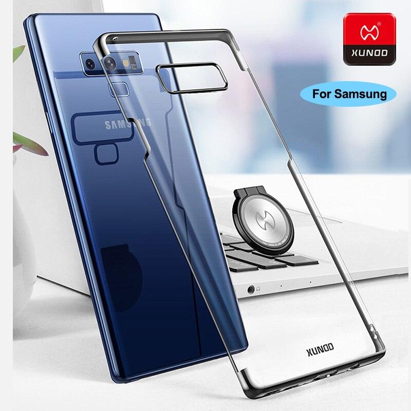 Luxo Transparente Chapeamento Hard Case New Para Samsung Galaxy Note 8 9 S9 S8 Além de Anel de Dedo Telefone Da Tampa Do Caso suporte para carro magnético