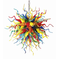 Luxury Colorful 100% Hand Blown Glass Chandeliers with LED Bulbs Murano Chain Hanging Lamp for Kitchen Decor