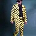 Geel Zwart Golf Punt Pak Koreaanse Custom Made Mannen 2 STUKS Suits Set (jas + broek) mannelijke Straat Mode Pak Blazer Jasje DJ Stage