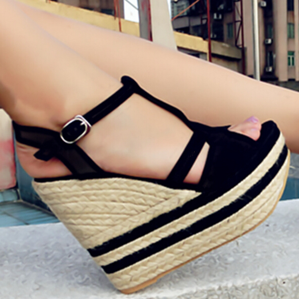 2015 verano zapatos de plataforma moda sandalias de tacón alto para mujer alpargatas Peep Toe plataformas