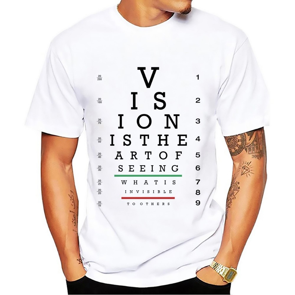Currency Symbol Visual Acuity Chart Funny Tshirt Men 2018 New White Casual Creative Cool Homme High Definition No Glue T Shirt