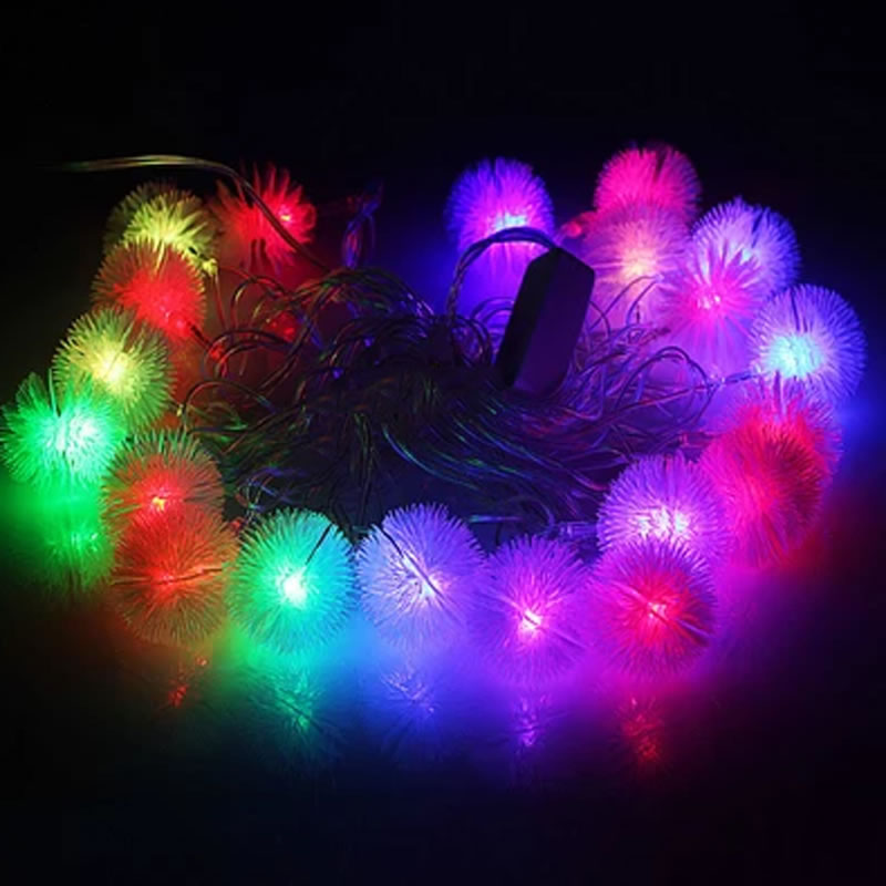 220V 10M 100LEDs Holiday Snowball LED Strings Fairy Lights Pompon Christmas Wedding Party Valentine 39 s Day Home Decorative Light in Holiday Lighting from Lights amp Lighting