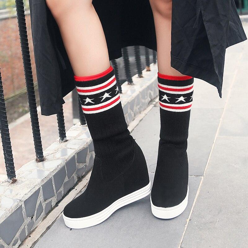 À De Et style Confortable Chaussures Genou Épaissie Tricoté Qzyerai Stretch Noir Daim Femmes Hauteur Européenne Chaud Bottes En Laine Du zIqTO