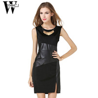 WYHHCJ Casual PU Patchwork Summer Dress 2017 O Neck Sleeveless High Waist Dress Women Bodycon Plus