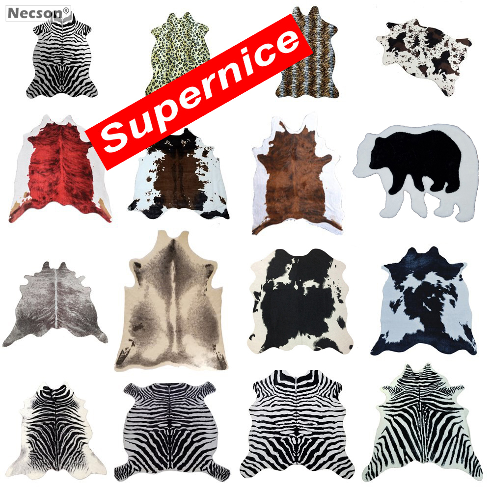 Cowhide Rug Zebra Stripe Carpet White Tiger Leopard Faux Skin Fur Villi Black Bear Mat Sheep Cushion Brown Villus Coats Dropship