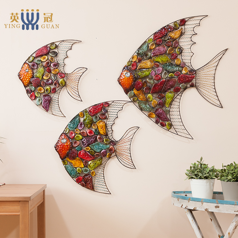 European Style Living Room Hanging Wall Decoration Ornaments Mural Creative Color Fish Iron Painting Home Decoration Accessories