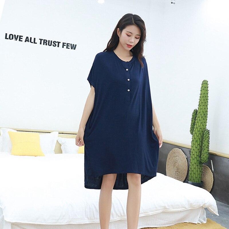 Мягкая одежда для сна для беременных женщин; платье для беременных с короткими рукавами; Пижама для беременных женщин; сезон лето-осень; одежда для сна для беременных - Цвет: Dark blue