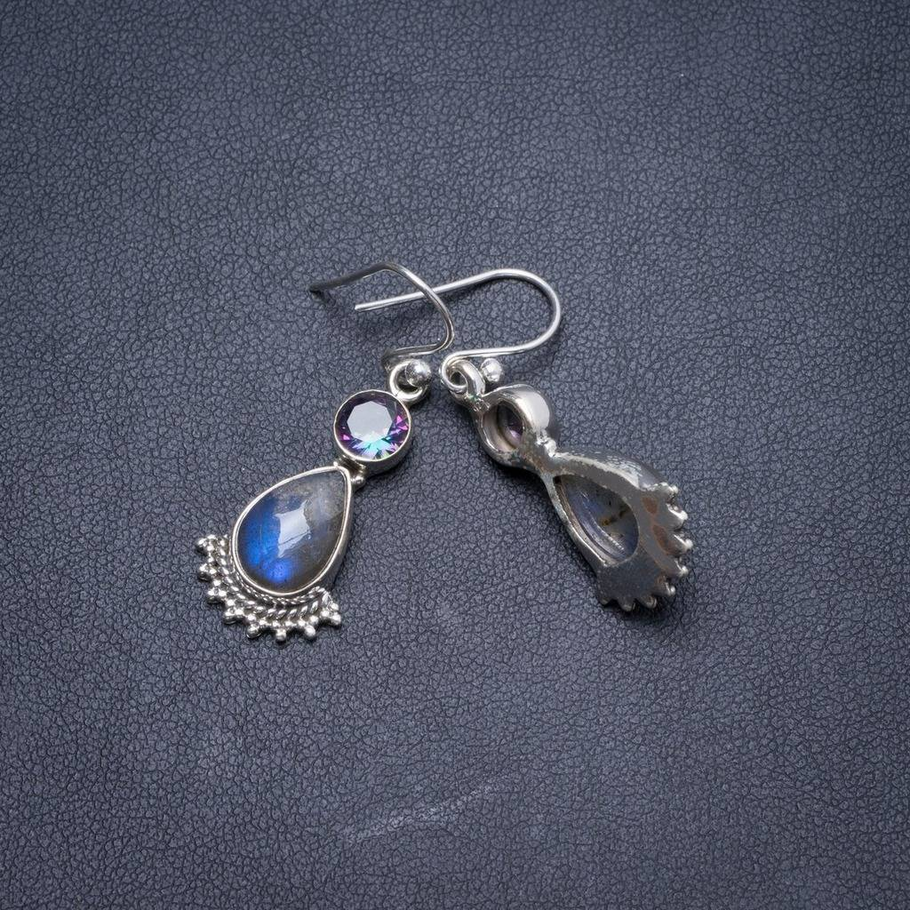 Natural Labradorite and Mystical Topaz Handmade Unique 925 Sterling Silver Earrings 1.5