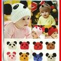 2016 Bebés de Los Niños Kids Beanie Cap Caliente Del Invierno Panda de la Historieta Caliente Bola Knited Crochet Invierno Sombreros Niños Accesorios de Moda