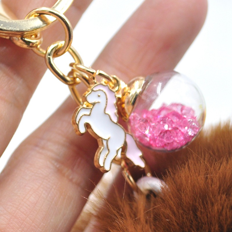 Cute Unicorn Keychain Pompom Avengers Key Chains quicksand Fur Ball Key Chain Fluffy <font><b>Pom</b></font> <font><b>Pom</b></font> <font><b>Keyring</b></font> For Women Car Bag Key Ring image
