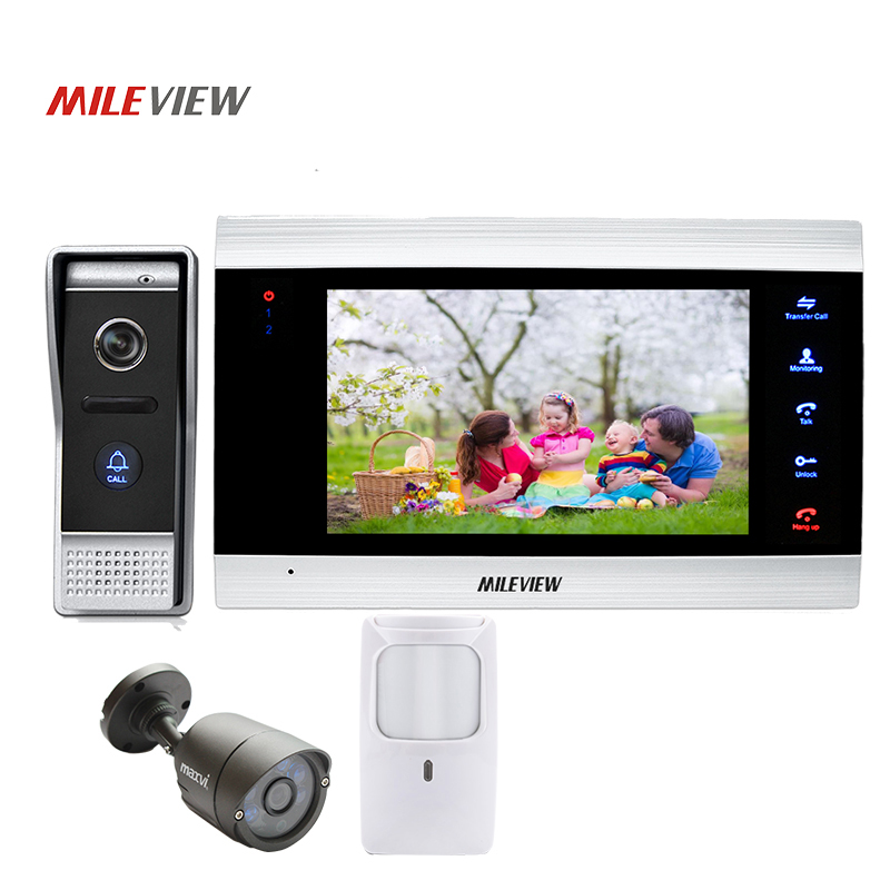 Free Shipping 800TVL 7 Screen Video Intercom Door Phone Record Kit 110 View Angle Door Camera CCTV PIR Motion Detection Alarm