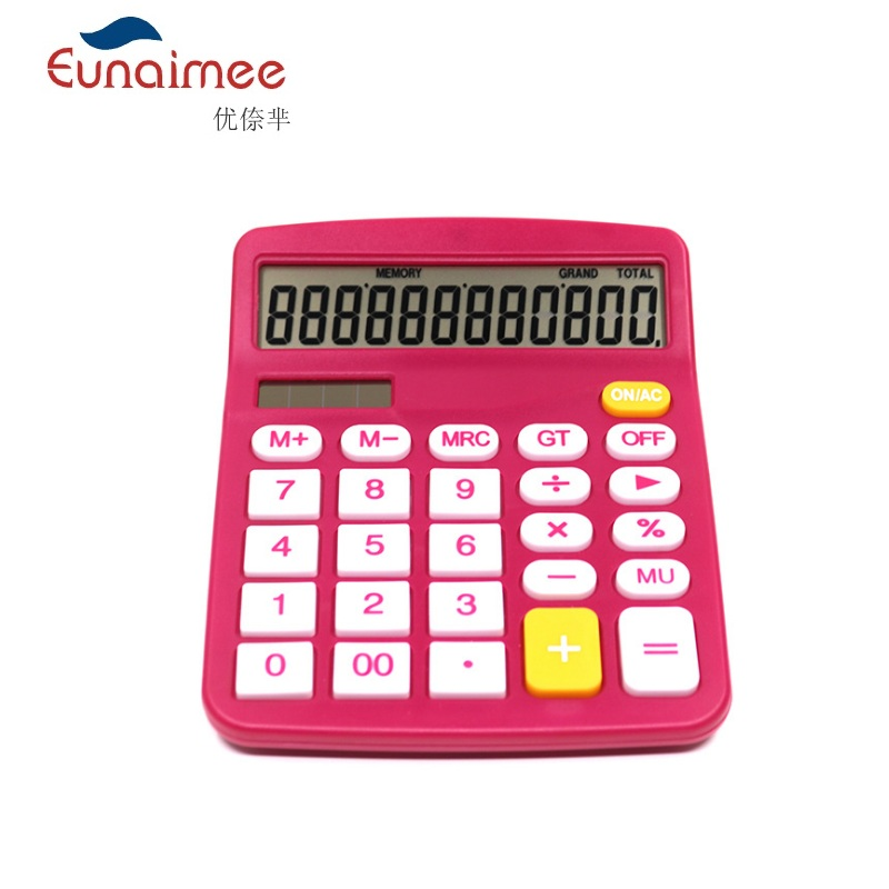 12 Digit Desk Calculator Large Buttons Financial Business Accounting Tool Rose Red color for office school image