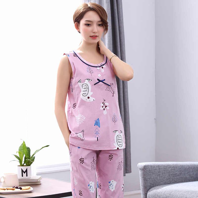 662cff845b Newest pyjamas women pijama feminino pajamas set plus size M-4XL sleeveless  pajamas summer female