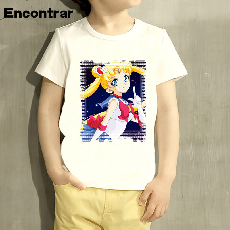 Kids Sailor Moon Funny Design Baby Boys/Girl TShirt Kids Funny Short Sleeve Tops Children Cute T-Shirt,HKP4376